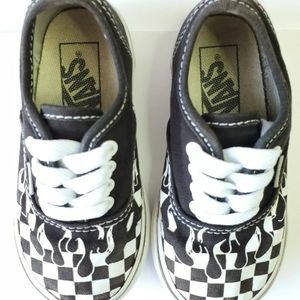 VANS AUTHENTIC BLACK CHECKER FLAME SIZE 7c TODDLER